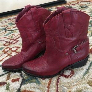 Red leather boots!